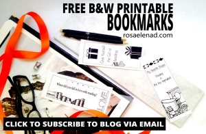 Free Black and White Printable Bookmarks pdf - rosaelenad.com