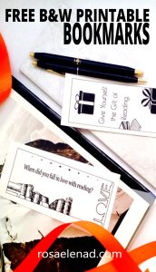 Free Black and White Printable Bookmarks - rosaelenad.com