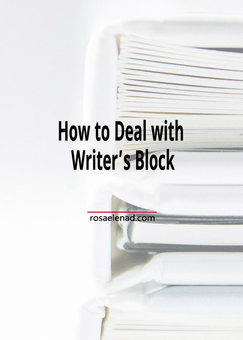 Pile of books with text overlay - How to Deal with Writer's Block