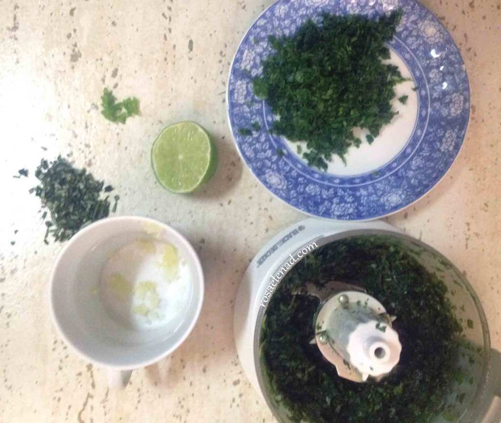 Vegan fresh-herbs sauce ingredients ready to use